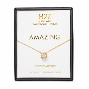"Amazing Light Gray Opal by H2Z Made with Swarovski Elements - 16"" - 17.5"" Necklace"