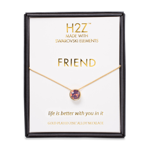 "Friend Cyclamen Opal by H2Z Made with Swarovski Elements - 16"" - 17.5"" Necklace"