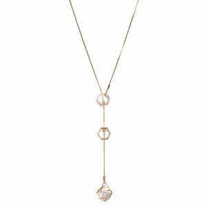 "Crystal - Gold Hexagon by H2Z Made with Swarovski Elements - 18.5"" Swarovski Crystal Sweater Necklace"