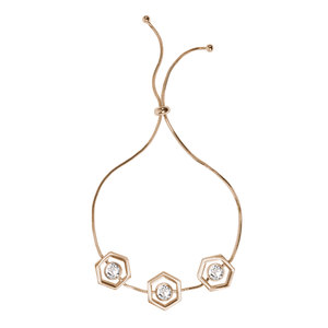 "Crystal - Gold Hexagon by H2Z Made with Swarovski Elements - 2"" - 3"" Swarovski Crystal Drawstring Bracelet"