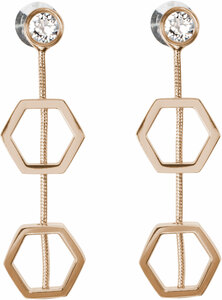 "Crystal - Gold Hexagon by H2Z Made with Swarovski Elements - 1.5"" Swarovski Crystal Dangle Earrings"