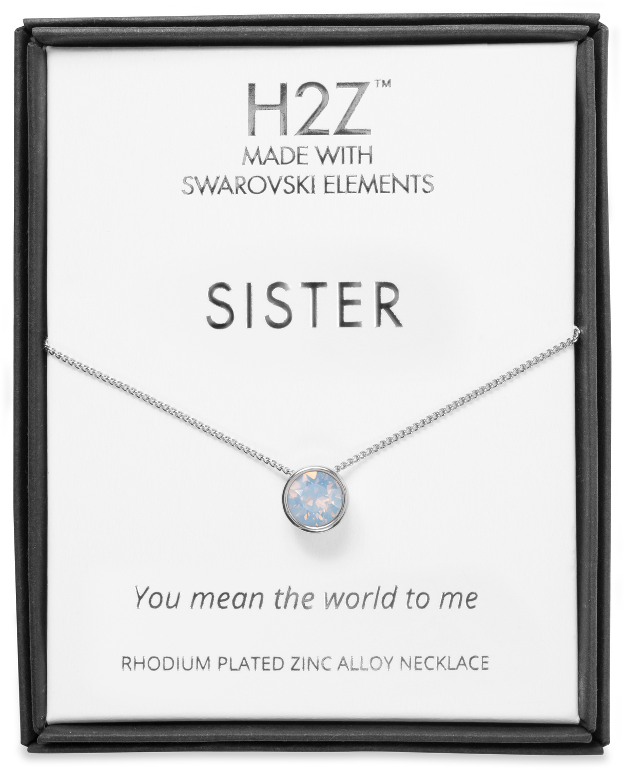 "Sister Air Blue Opal by H2Z Made with Swarovski Elements - Sister Air Blue Opal - 16"" - 17.5"" Rhodium Necklace"