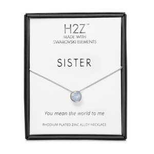 "Sister Air Blue Opal by H2Z Made with Swarovski Elements - 16"" - 17.5"" Rhodium Necklace"