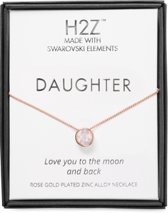 "Daughter Rose Water Opal by H2Z Made with Swarovski Elements - 16"" - 17.5"" Rose Gold Necklace"