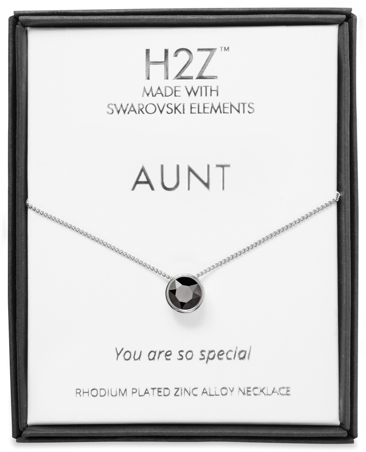 "Aunt Jet  by H2Z Made with Swarovski Elements - Aunt Jet  - 16"" - 17.5"" Rhodium Necklace"