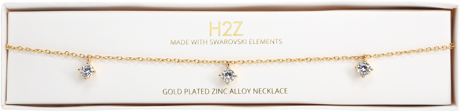 "Crystal Classic in Gold by H2Z Made with Swarovski Elements - Crystal Classic in Gold - 12.5"" - 15.5"" Swarovski Crystal Necklace"