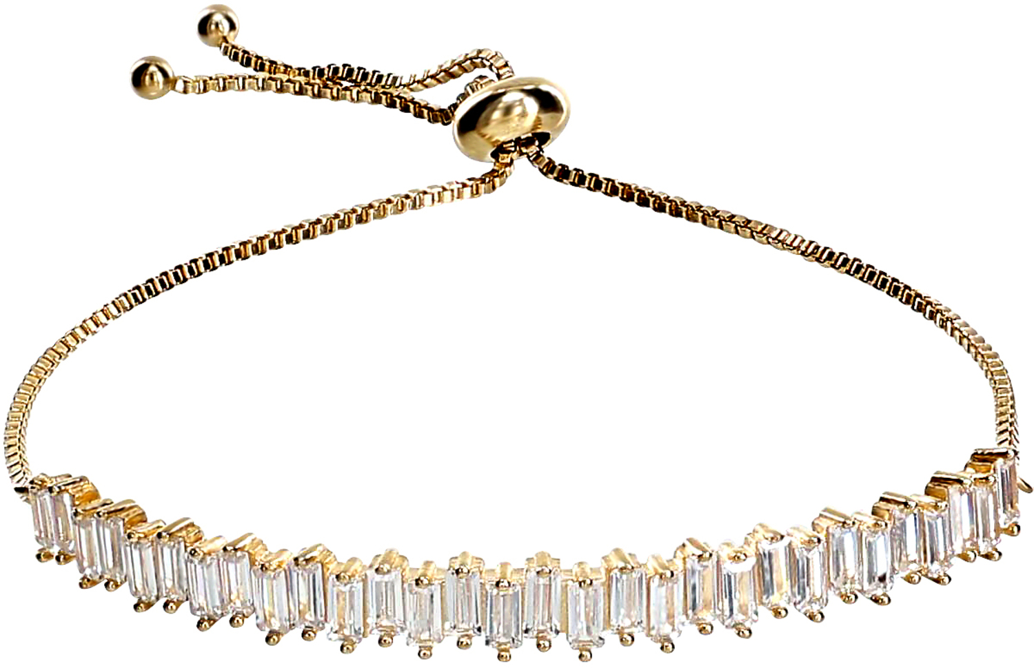 "Crystal Classic in Gold by H2Z Made with Swarovski Elements - Crystal Classic in Gold - 4.5"" Swarovski Crystal Drawstring Bracelet"