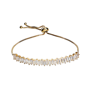 "Crystal Classic in Gold by H2Z Made with Swarovski Elements - 4.5"" Swarovski Crystal Drawstring Bracelet"