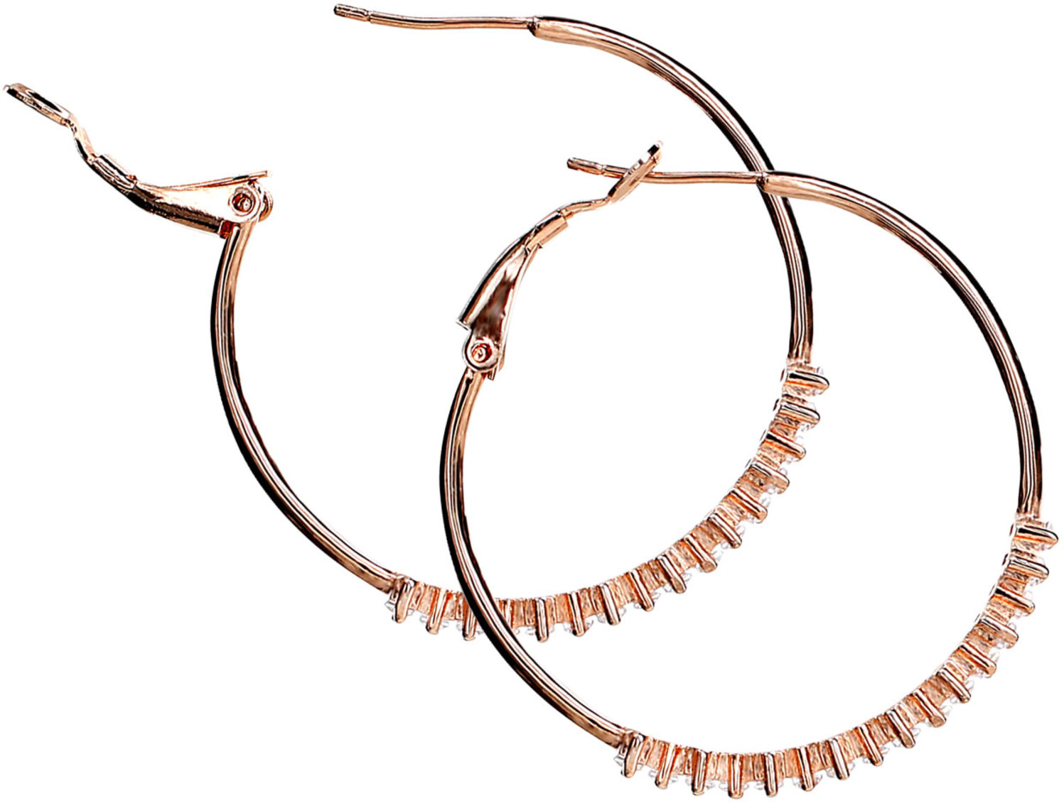 "Crystal Classic in Rose Gold by H2Z Made with Swarovski Elements - Crystal Classic in Rose Gold - 1.5"" Swarovski Crystal Hoop Earring"