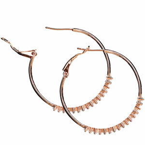"Crystal Classic in Rose Gold by H2Z Made with Swarovski Elements - 1.5"" Swarovski Crystal Hoop Earring"