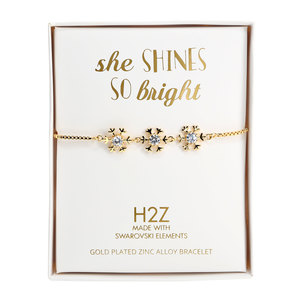 "Crystal Snowflake in Gold by H2Z Made with Swarovski Elements - 4.5"" Swarovski Crystal Drawstring Bracelet"