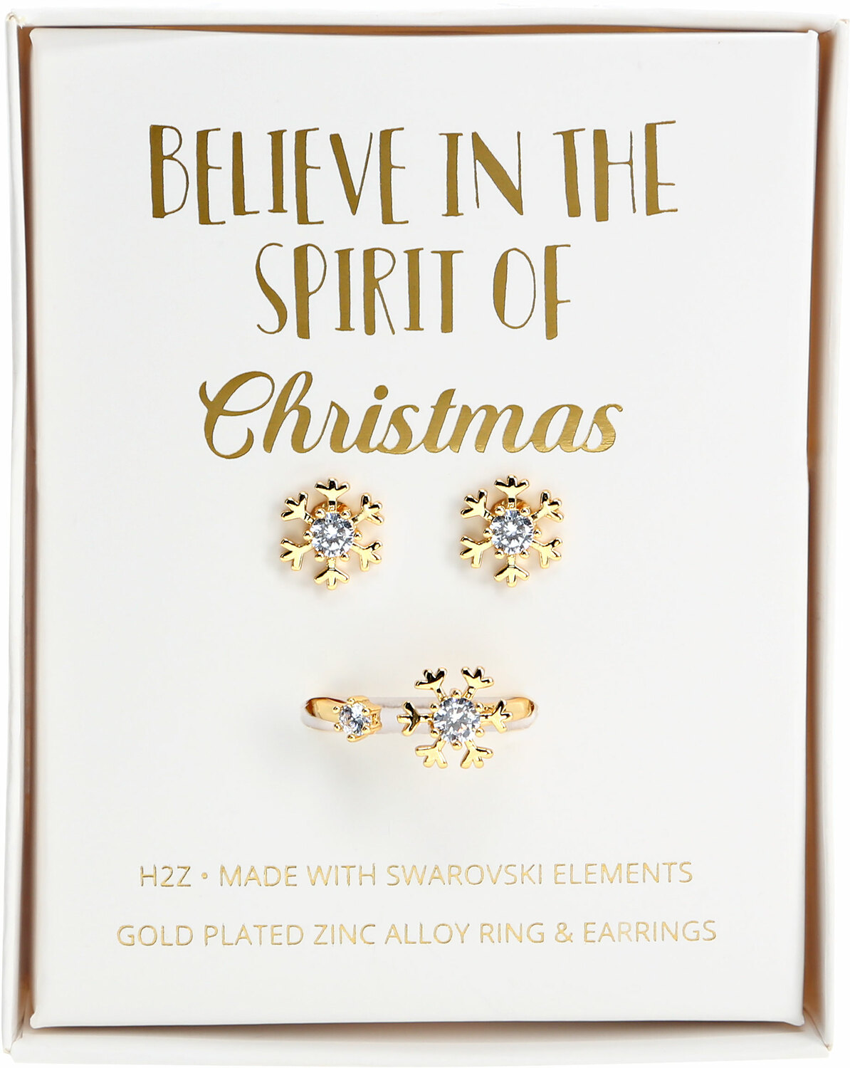 Crystal Snowflake in Gold by H2Z Made with Swarovski Elements - Crystal Snowflake in Gold - 1 CM Swarovski Crystal Stud Earrings & Adjustable Ring
