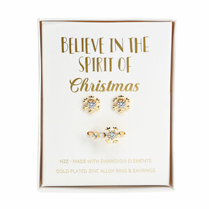 Crystal Snowflake in Gold by H2Z Made with Swarovski Elements - 1 CM Swarovski Crystal Stud Earrings & Adjustable Ring