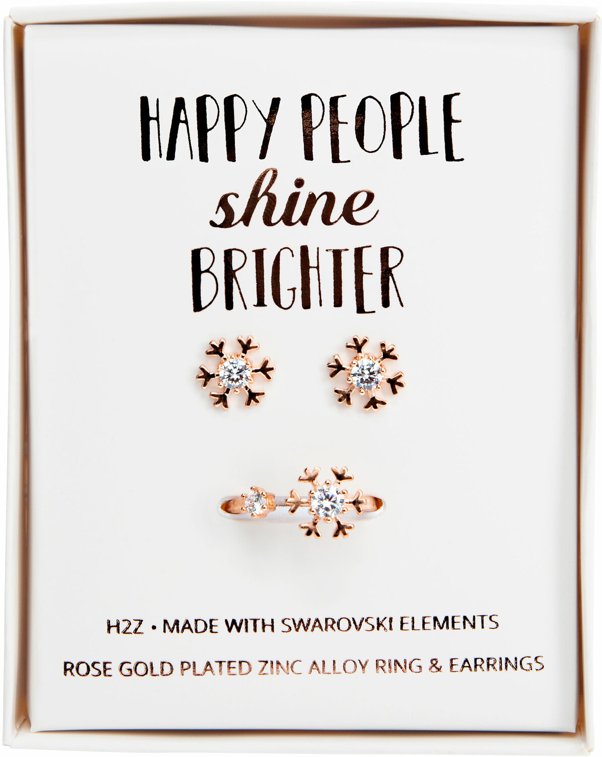 Crystal Snowflake in Rose Gold by H2Z Made with Swarovski Elements - Crystal Snowflake in Rose Gold - 1 CM Swarovski Crystal Stud Earrings & Adjustable Ring