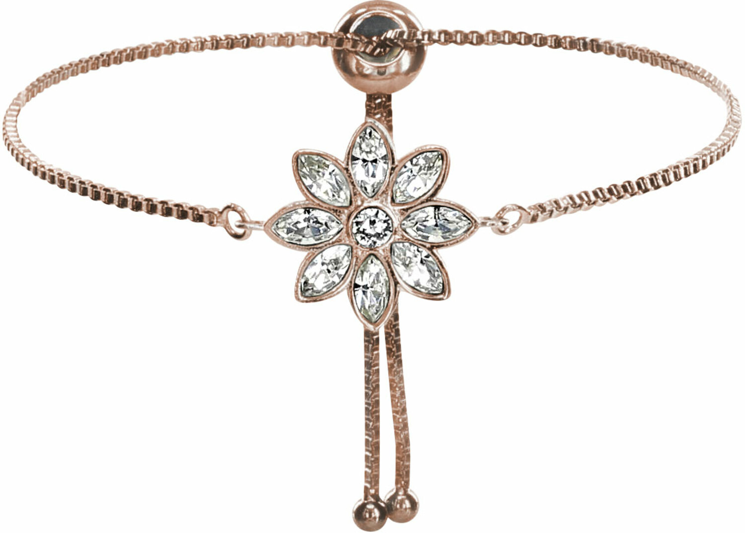 "Crystal Flora in Rose Gold by H2Z Made with Swarovski Elements - Crystal Flora in Rose Gold - 4.5"" Swarovski Crystal Drawstring Bracelet"