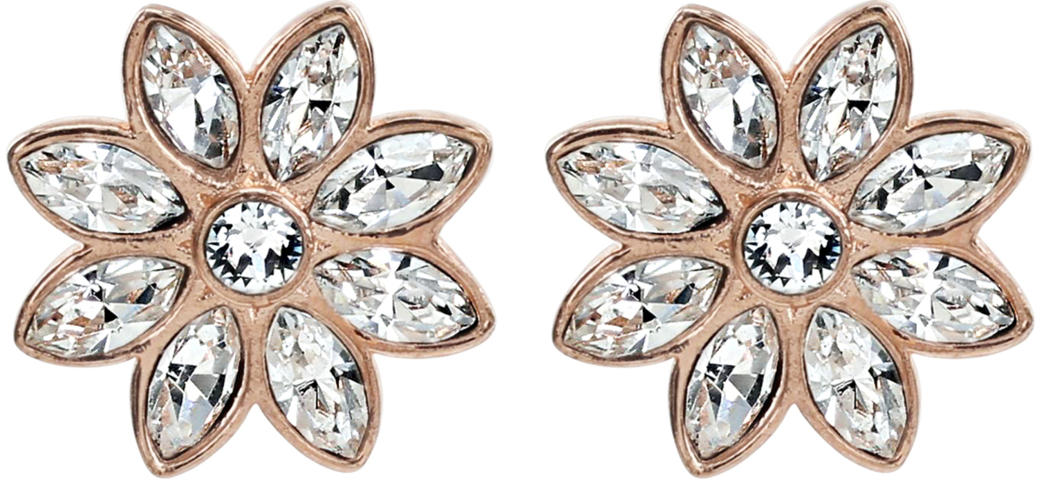 Crystal Flora in Rose Gold by H2Z Made with Swarovski Elements - Crystal Flora in Rose Gold - 1.5 CM Swarovski Crystal Stud Earrings