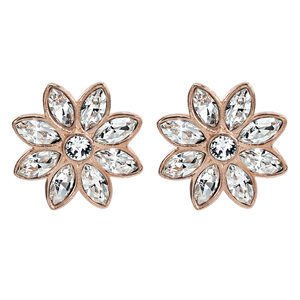 Crystal Flora in Rose Gold by H2Z Made with Swarovski Elements - 1.5 CM Swarovski Crystal Stud Earrings