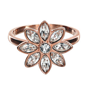 Crystal Flora in Rose Gold by H2Z Made with Swarovski Elements - 1.5 CM Swarovski Crystal Ring Size 7