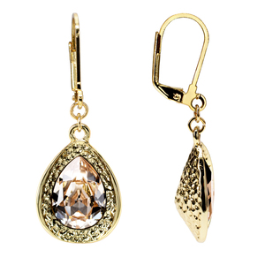 Light Silk Teardrop by H2Z Made with Swarovski Elements - 18K Gold Plated Swarovski Crystal Dangle Earring