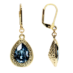 Denim Blue Teardrop by H2Z Made with Swarovski Elements - 18K Gold Plated Swarovski Crystal Dangle Earring