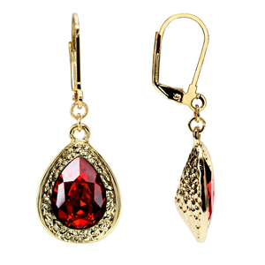 Siam Teardrop by H2Z Made with Swarovski Elements - 18K Gold Plated Swarovski Crystal Dangle Earring