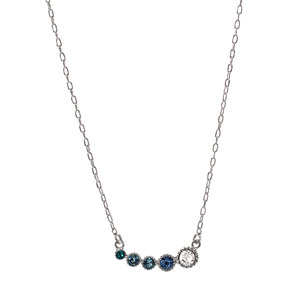 "Aquamarine Ombre by H2Z Made with Swarovski Elements - 13"" - 16.5"" Rhodium Plated Crystal  Necklace"