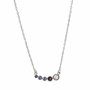 "Tanzanite Ombre by H2Z Made with Swarovski Elements - 13"" - 16.5"" Rhodium Plated Crystal  Necklace"