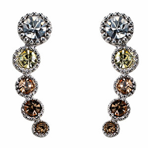 Topaz Ombre by H2Z Made with Swarovski Elements - Rhodium Plated Ear Climbers