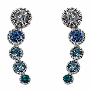 Aquamarine Ombre by H2Z Made with Swarovski Elements - Rhodium Plated Ear Climbers