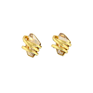 Crystal Golden Shadow Galactic by H2Z Made with Swarovski Elements - Gold Plated Swarovski Element Stud Earrings