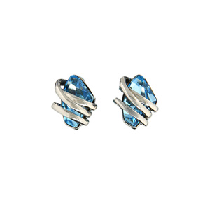 Aquamarine Galactic by H2Z Made with Swarovski Elements - Rhodium Swarovski Element Stud Earrings