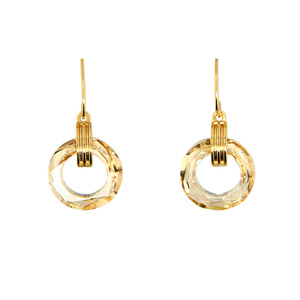 Crystal Golden Shadow Cosmic by H2Z Made with Swarovski Elements - Gold Plated Swarovski Element Drop Earrings
