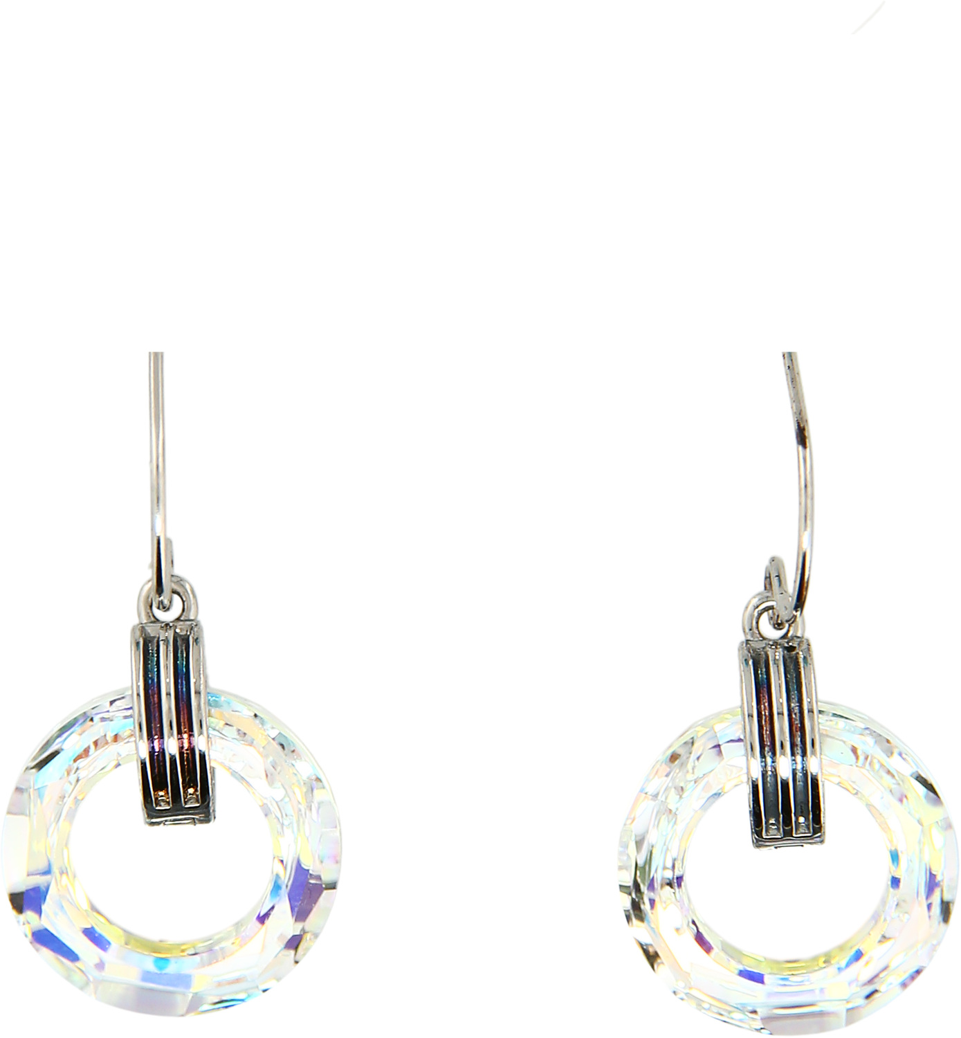 Iridescent Crystal Cosmic by H2Z Made with Swarovski Elements - Iridescent Crystal Cosmic - Rhodium Swarovski Element Drop Earrings