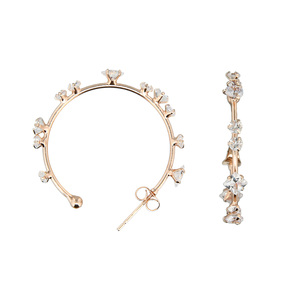 "Stunning Crystal in Rose Gold by H2Z - Jewelry - 1.25"" Cubic Zirconia Hoop Earrings"