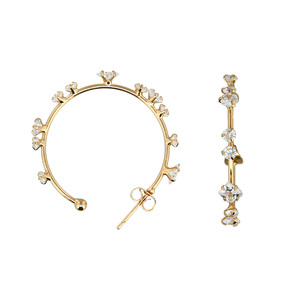 "Stunning Crystal in Gold by H2Z - Jewelry - 1.25"" Cubic Zirconia Hoop Earrings"