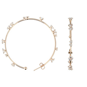 "Stunning Crystal in Rose Gold by H2Z - Jewelry - 2"" Cubic Zirconia Hoop Earrings"