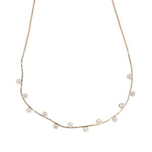 "Stunning Crystal in Rose Gold by H2Z - Jewelry - 16.5-18.5"" Cubic Zirconia Necklace"