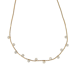 "Stunning Crystal in Gold by H2Z - Jewelry - 16.5-18.5"" Cubic Zirconia Necklace"