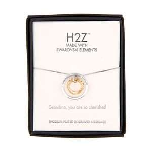 "Grandma Golden Shadow Crystal by H2Z Made with Swarovski Elements - 17""-19"" Engraved Rhodium Plated Swarovski Element Necklace"