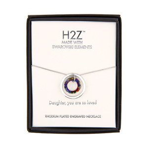 "Daughter Volcano Crystal by H2Z Made with Swarovski Elements - 17""-19"" Engraved Rhodium Plated Swarovski Element Necklace"