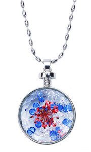 "Primary Petals by H2Z Petal Pendants - 31"" - 34.5"" Sweater Necklace with Glass Pendant"
