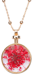 "Pink Pollen by H2Z Petal Pendants - 31"" - 34.5"" Sweater Necklace with Glass Pendant"