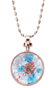 "Pristine Peach by H2Z Petal Pendants - 31"" - 34.5"" Sweater Necklace with Glass Pendant"