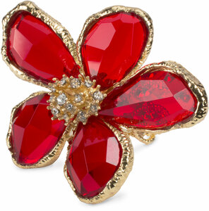 Ruby by H2Z Petal Pendants - Size 7 Gold Plated Ring