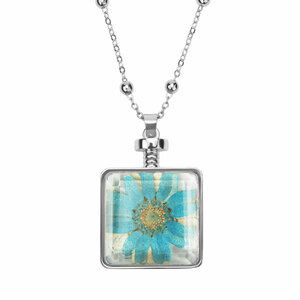 "Turquoise Gerber by H2Z Petal Pendants - 31"" - 34.5"" Sweater Necklace with Glass Pendant"