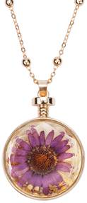 "Lavender Gerber by H2Z Petal Pendants - 31"" - 34.5"" Sweater Necklace with Glass Pendant"