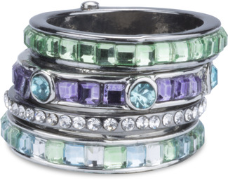 Seascape  by H2Z Radiant Rings - Size 7 Ring with 4 Stacked Crystal Layers