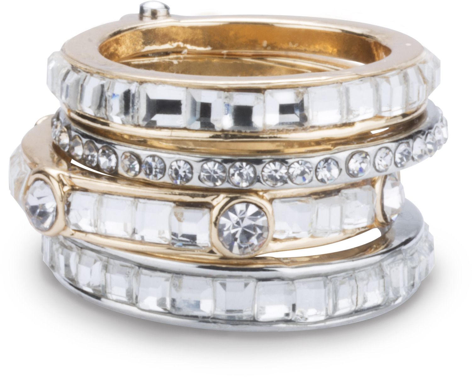 Crystal by H2Z Radiant Rings - Crystal - Size 7 Ring with 4 Stacked Crystal Layers