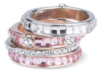 Romance by H2Z Radiant Rings - Size 7 Ring with 4 Stacked Crystal Layers