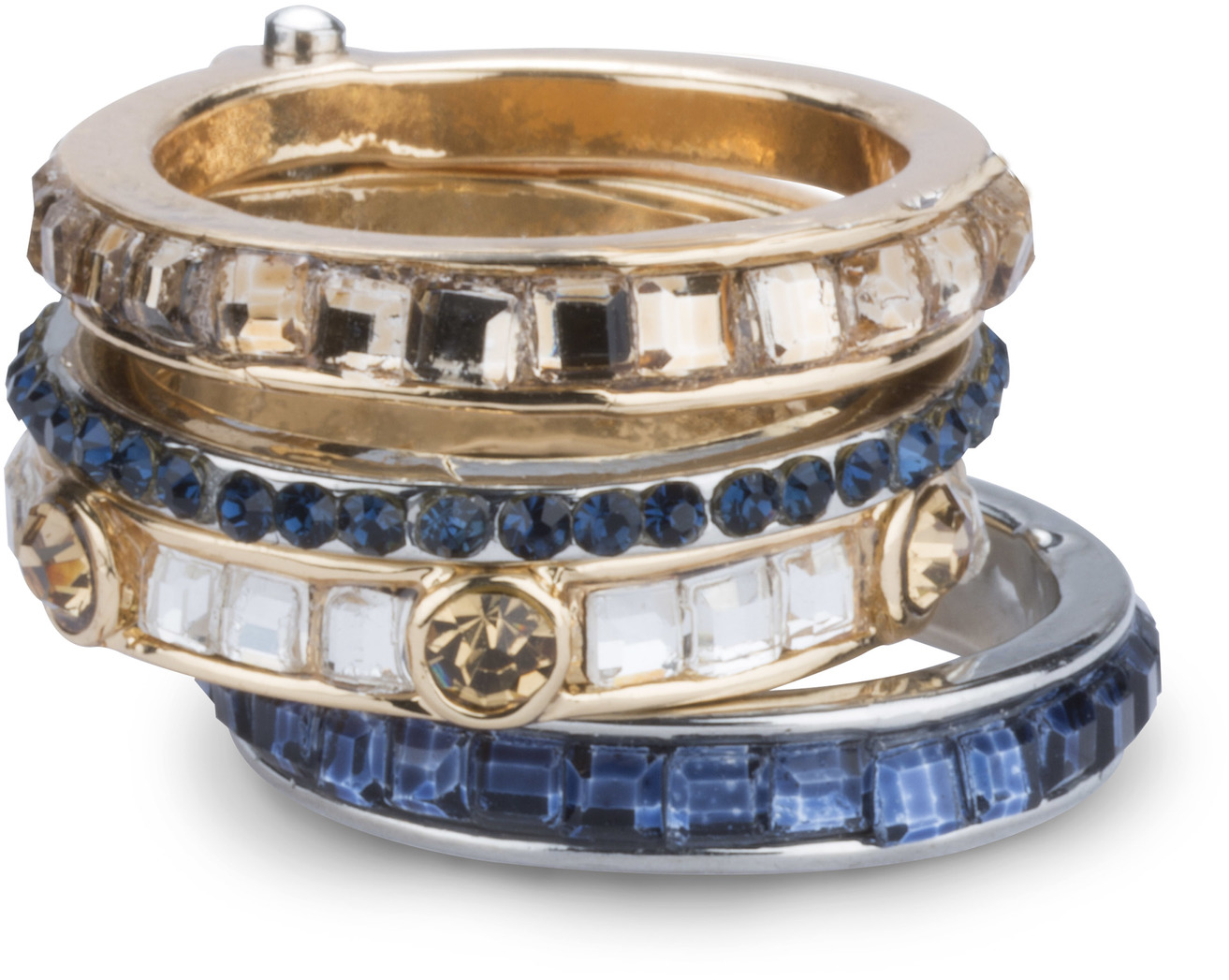 Coastal by H2Z Radiant Rings - Coastal - Size 7 Ring with 4 Stacked Crystal Layers